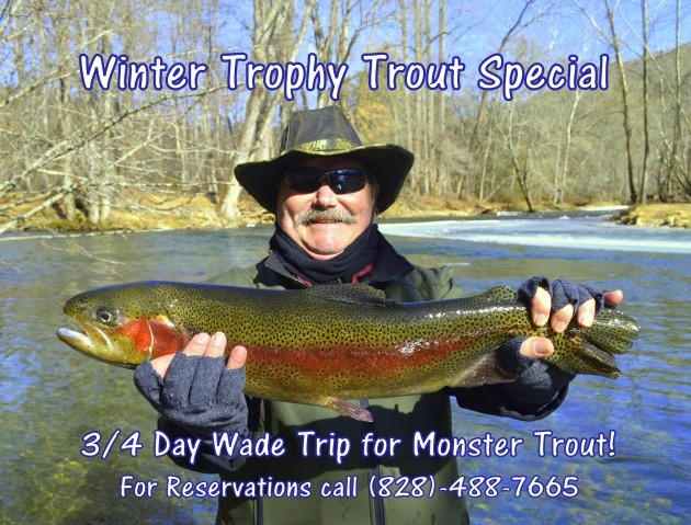 Trophy trout winter fly fishing in the gatlinburg smoky for Gatlinburg trout fishing